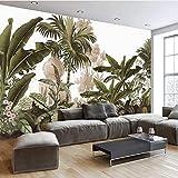 Tapete 3D Fototapete Dekoratives DesignHandgemalte Retro-nostalgische idyllische Regenwald-TV-Hintergrundwand im europäischen Stil Tapete für Flamingos im amerikanischen Dschungel