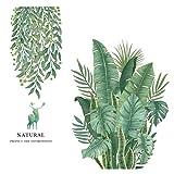 AILANDA Wandtattoo Grüne Bananenblatt Pflanze Wandtatoo Wandsticker Tropische Blätter Wandaufkleber für Kinderzimmer Deko Wohnzimmer Schlafzimmer Küche