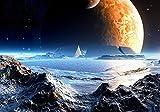 wandmotiv24 Fototapete Neuer Planet XS 150 x 105cm - 3 Teile Fototapeten, Wandbild, Motivtapeten, Vlies-Tapeten Weltall, Universum, Weltraum M0441