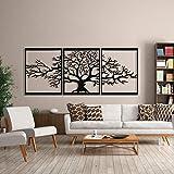 Baum des Lebens Metall Baum Wanddeko Metall Stammbaum Wanddekoration 3D Metallskulptur Wanddekoration für Zuhause Büro Schlafzimmer Wohnzimmer Außen Dekoration Groß 3 Stück (alle Teile 48 x 60 cm)