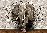 wandmotiv24 Fototapete Elefant 3D Wanddurchbruch, XXL 400 x 280 cm - 8 Teile, Fototapeten, Wandbild, Motivtapeten, Vlies-Tapeten, Tier, Mauer, Bruch M1238