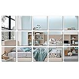 15 Stück quadratische Acryl-Spiegel-Aufkleber-Blatt, entfernbare Silber-Spiegel-Wanddekoration, selbstklebende Wand-Aufkleber für Badezimmer, Wohnzimmer, Schlafzimmer, Dekoration