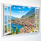 Leinwandbild mit Fensterblick - Druck auf Canvas Leinwand - moderner Kunstdruck - XXL Wandbild – Fenster mit Ausblick - Keilrahmen mit Druck (Dorf am See, 120 x 80 cm)
