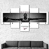 hgjfg Bilder Wandbild 150x80cm Leinwandbild 5 TLG Kunstdruck Michael Jordan Zitat Basketball modern Wandbilder XXL Wanddekoration Design Wandkunst 5 Stücke Leinwand Wohnzimmer Dekoration