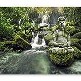murando Fototapete Buddha 350x256 cm Vlies Tapeten Wandtapete XXL Moderne Wanddeko Design Wand Dekoration Wohnzimmer Schlafzimmer Büro Flur Natur Landschaft Wasserfall Wald c-C-0019-a-d
