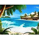 Runa Art Fototapete Karibik Insel Modern Vlies Wohnzimmer Schlafzimmer Flur - made in Germany - Grün Blau 9209010b