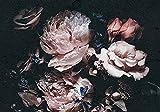 Forwall Fototapete Blumen Vintage Blumenstrauß große Pfingstrosen schwarz Rosen Wohnzimmer Schlafzimmer Vlies Tapete Wandtapete UV-Beständig Montagefertig (13525, V8 (368x254 cm) 4 Bahnen)
