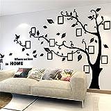 Wandtattoo Baum 3D DIY Wandaufkleber Sticker mit Bilderrahmen Foto Baum Wandsticker Wanddeko Deko für Hause Kinderzimmer Wohnzimmer Schlafzimmer(L: 175 * 230CM,Schwarz Links)