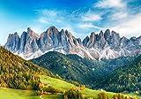 wandmotiv24 Fototapete Landschaft Berge Wald Bäume, XL 350 x 245 cm - 7 Teile, Fototapeten, Wandbild, Motivtapeten, Vlies-Tapeten, Gebirge Dolomiten M6187