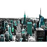 Runa Art Fototapete New York Modern Vlies Wohnzimmer Schlafzimmer Flur - made in Germany - Türkis Schwarz 9202010b