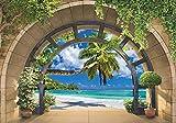 Forwall Fototapete 3D Fenster Strand Meer Palmen Ausblick Tropen Wohnzimmer Schlafzimmer Vlies Tapete Wandtapete UV-Beständig Hohe Auflösung Montagefertig (11554, VEXXXL (416x254 cm) 4 Bahnen)