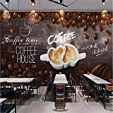 YSJHPC 3D Fototapete Tapete Brown Coffee Shop Kaffeebohnen Persönlichkeit kreativ Fototapeten Selbstklebend PVC Tapeten Wandtapete moderne Wandbild Wand Children's Room Boy Girl Room(B) 200x (H) 150CM