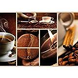 Vlies Fototapete PREMIUM PLUS Wand Foto Tapete Wand Bild Vliestapete - Kaffee Bohnen Tasse Kerze Kaffeebohnen - no. 2492, Größe:254x184cm Vlies