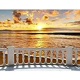 Fototapete Terasse Sonnenuntergang Meer 352 x 250 cm Vlies Tapeten Wandtapete XXL Moderne Wanddeko Wohnzimmer Schlafzimmer Büro Flur Braun Orange 9028011c