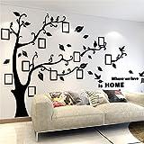 Wandtattoo Baum 3D DIY Wandaufkleber Sticker mit Bilderrahmen Foto Baum Wandsticker Wanddeko Deko für Hause Kinderzimmer Wohnzimmer Schlafzimmer(S: 100 * 138CM,Schwarz Rechts)