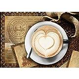Vlies Fototapete PREMIUM PLUS Wand Foto Tapete Wand Bild Vliestapete - Kaffee Cappuccino Kaffeebohnen Herz London - no. 2150, Größe:368x254cm Blueback Papier
