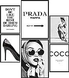 Papierschmiede® Premium Poster Set Coco Schwarz-Weiß | 6 Bilder als stilvolle Wanddeko | 2X DIN A4 und 4X DIN A5 | Glamour Lifestyle Mode