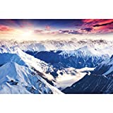 GREAT ART® Fototapete – Alpen Panorama – Wandbild Dekoration Winter Sonnenuntergang Schnee Landschaft Natur Berge Gletscher Gebirge Gipfel Foto-Tapete Wandtapete Fotoposter Wanddeko (210x140 cm)