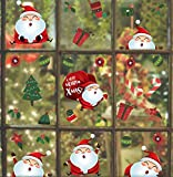 KAIRNE Cartoons Weihnacht Fenster Wandtattoo,Santa Fensteraufkleber,Weihnachtsmann Weihnachten Fensterdeko,Abnehmbare Fenstersticker Weihnacht Aufkleber für Kinder Weihnachten Party Haus Wandaufkleber