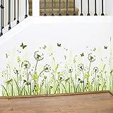 Carolui DIY Wandtattoo Abnehmbare Pusteblume Gras Schmetterlinge Wanddekoration Tapete