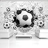 DekoShop Fototapete Vlies Tapete Moderne Wanddeko Wandtapete 3D Fußbälle in der Ziegelwand AMD3383VEXXL VEXXL (312cm. x 219cm.) Sport