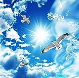 FHOMEY Tapete Wandbild 3D Deckentapete Stereo Blauer Himmel Weiße Wolken Taube Natur Landschaft Fototapete Deckentapeten-400 * 280Cm