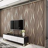 Giow Tapete 3D Moderne Minimalistische Geprägte Hirschleder Geometrische Muster Tapete Dickes vlies Schlafzimmer Wohnzimmer Hintergrund Tapete 0,53 * 10 Mt (Farbe: BRAUN)