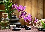 wandmotiv24 Fototapete Spa Steine Öl Bambus Rosa Orchideen, L 300 x 210 cm - 6 Teile, Fototapeten, Wandbild, Motivtapeten, Vlies-Tapeten, Wellness Kerze M4816