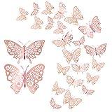 24 Stücke Schmetterling Wandaufkleber,CattleyaHQ Mixed 3D Schmetterlinge Wandtattoos,Lebhaft Blitz Wandaufkleber für Zuhause, Schlafzimmer, Babyzimmer Dekoration (Rosegold)