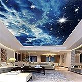 Benutzerdefinierte Fototapete Sternenhimmel Wolken Sterne Decke Tapete 3D Wohnzimmer Schlafzimmer Ktv Bar Deckenwand Tapete, 400 × 280Cm