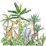 Tropischer Regenwald Tiere Pflanzen Wandaufkleber, Abnehmbare Karikatur Elefant Giraffe Nordic Plant Tapete Wandtattoo, DIY Kunst Wandbilder für Kinder Schlafzimmer Kinderzimmer Dekorationen (A)