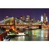 GREAT ART® Fototapete – New York – Wandbild Dekoration Brooklyn Bridge bei Nacht leuchtende Wolkenkratzer Skyline Wall Street USA Deko Wandtapete (336 x 236 cm)