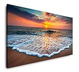 Paul Sinus Art Strände und Sonnenuntergang 120x 60cm Panorama Leinwand Bild XXL Format Wandbilder Wohnzimmer Wohnung Deko Kunstdrucke