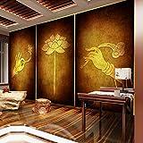 Bergamotte Lotus Wallpaper Thailand Thai Schönheitssalon Buddha Hall Wandbild Südostasiatischen Stil Dekorative Buddhismus Zen Wall fototapete 3d Tapete effekt Vlies wandbild Schlafzimmer-250cm×170cm
