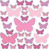PREMYO 32 Schmetterlinge Wandsticker Kinderzimmer Mädchen - Wandtattoo - Wandaufkleber Selbstklebend Pastell Rosa