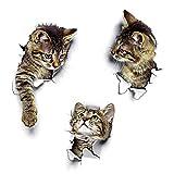 Wandsticker Wandaufkleber 3D Katzen Wandtattoo Kombination WC-Aufkleber Wasserdichte Kühlschrankaufkleber Türaufkleber für Toilette Badezimmer Schlafzimmer Kinderzimmer Küche