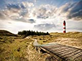 wandmotiv24 Fototapete Leuchtturm mit Dünen Größe: 350 x 260 cm Wandbild, Motivtapete, Vlietapete KTk327