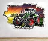 1Stop Graphics Shop Tractor Wandaufkleber 3D Optik - Schlafzimmer Lounge Natur Farm Hof Wand Abziehbilder Z679 - Large: 70 cm x 111 cm