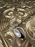 Tapete Gold Ornament Krone Edel Klassisch Kollektion Glööckler Imperial von marburg für Schlafzimmer Wohnzimmer oder Küche Made in Germany 10,05m X 0,70m 52540 BEKANNT AUS DEM TV!