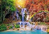 decomonkey Fototapete Wasserfall 350x256 cm XXL Design Tapete Fototapeten Vlies Tapeten Vliestapete Wandtapete moderne Wand Schlafzimmer Wohnzimmer Natur Regenbogen
