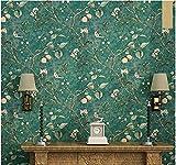 Tapeten Wohnzimmer,Vintage Tapete Mit Blumen und Bäumen und Vögeln für Wohnzimmer, Schlafzimmer, Küche, 5,3m² / Rolle-Grün
