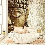 Fototapete Buddha Vintage Gold 274 x 254 cm inklusive Kleister Asien Tempel Spirituell Bronze shabby chic