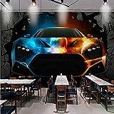 WH-PORP Benutzerdefinierte Fototapete 3D Stereo Tapete Bar Ktv Coole Auto gebrochene Wand Custom Tapete Lobby Büro Wohnzimmer Wandbild-200cmX140cm