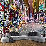 JINFANGBZ Tapete Fototapete 3d Effekt Gekritzelpersönlichkeitskunst Wandbild Wandtapete Hauptdekorationen für Wohnzimmer Schlafzimmer 350cm x 256cm (Breite x Höhe)