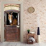 Türtapete selbstklebend TürPoster - PFERDESTALL - Fototapete Türfolie Poster Tapete Pferd