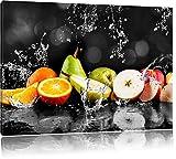 Pixxprint Früchte im Wasser als Leinwandbild | Größe: 80x60 | Wandbild| Kunstdruck | fertig bespannt