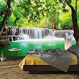 murimage Fototapete Wasserfall 3D 366 x 254cm inklusive Kleister Wald Tapete Bambus Thailand Wohnzimmer Schlafzimmer Küche