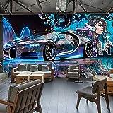 XZCWWH Fototapete 3D Street Graffiti Sport Auto Wandtuch Restaurant Kinder Jungen Schlafzimmer Hintergrund Wandverkleidung Tapete,200cm(W)×140cm(H)