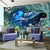 Tapete Benutzerdefinierte Größe 3D Fototapete 200 * 150Cm Unterwasserwelt Korallenriff Tier Delfin Fisch 3D Selbstklebende Tapete Wasserdichtes Diy Wandtattoos Plakatbild Kinder Dekoration