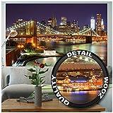 GREAT ART Fototapete – New York – Wandbild Dekoration Brooklyn Bridge bei Nacht leuchtende Wolkenkratzer Skyline Wall Street USA Deko Foto-Tapete Wandtapete Fotoposter Wanddeko (210x140 cm)